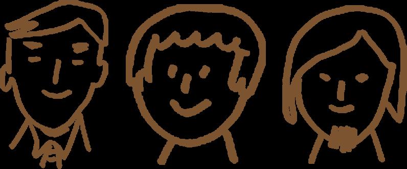 3人の手書きイラスト